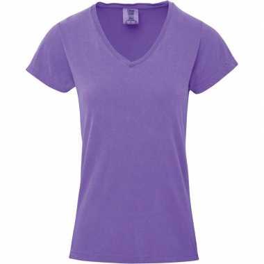 Getailleerde dames t-shirt met v-hals paarse