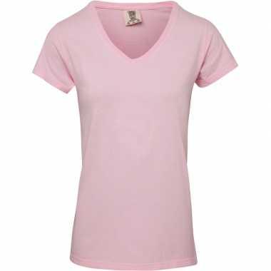 Getailleerde dames t-shirt met v-hals roze