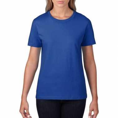 Getailleerde dameskleding t-shirt met ronde hals blauw