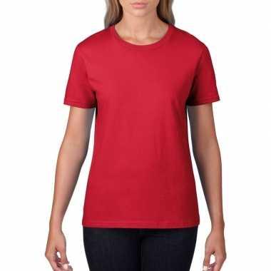 Getailleerde dameskleding t-shirt met ronde hals rood