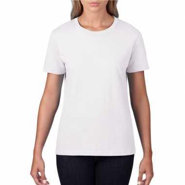 Getailleerde dameskleding t-shirt met ronde hals wit