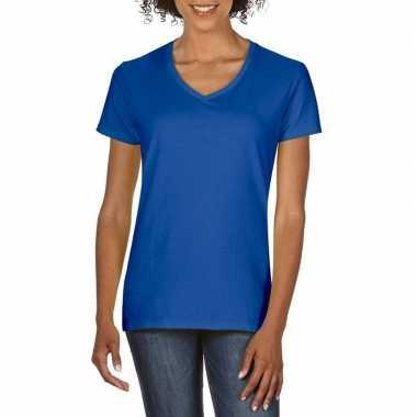 Getailleerde dameskleding t-shirt met v-hals blauw