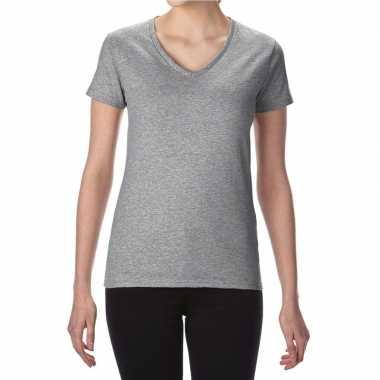Getailleerde dameskleding t-shirt met v-hals grijs