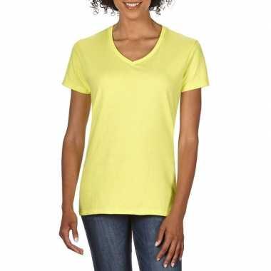 Getailleerde dameskleding t-shirt met v-hals licht geel