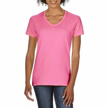 Getailleerde dameskleding t-shirt met v-hals licht roze