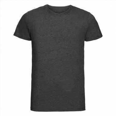 Getailleerde heren t-shirt met ronde hals donker grijs
