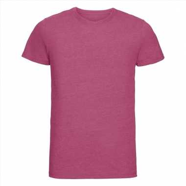Getailleerde heren t-shirt met ronde hals fuchsia