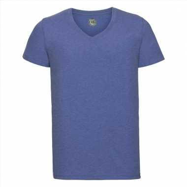 Getailleerde heren t-shirt met v-hals blauw