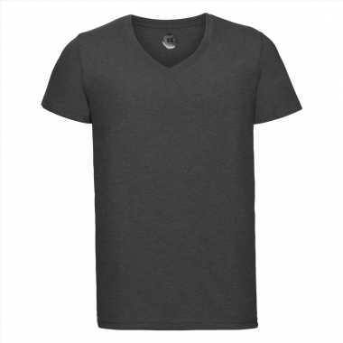 Getailleerde heren t-shirt met v-hals donker grijs