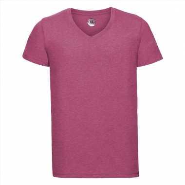 Getailleerde heren t-shirt met v-hals fuchsia