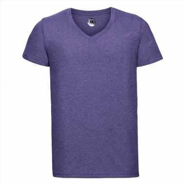 Getailleerde heren t-shirt met v-hals lila