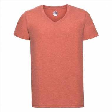 Getailleerde heren t-shirt met v-hals oranje