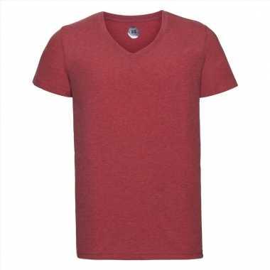 Getailleerde heren t-shirt met v-hals rood