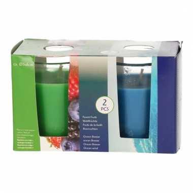Geurkaarsen groen en blauw in glas