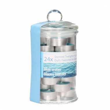 Geurkaarsjes oceaan in glazen pot 24 stuks