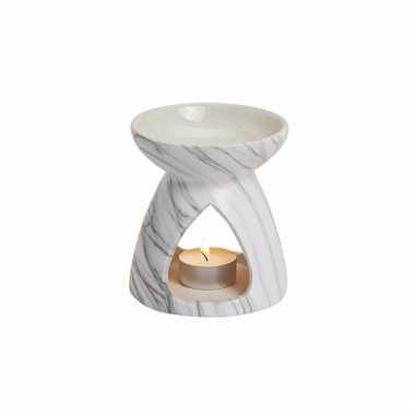 Geurolie brander rond wit van keramiek 11 cm