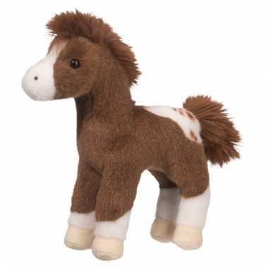 Gevlekte paarden knuffel donkerbruin 20 cm