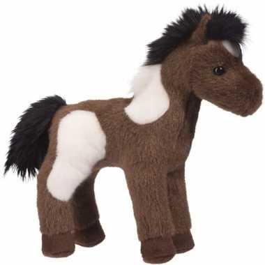 Gevlekte paarden knuffel western donkerbruin 20 cm