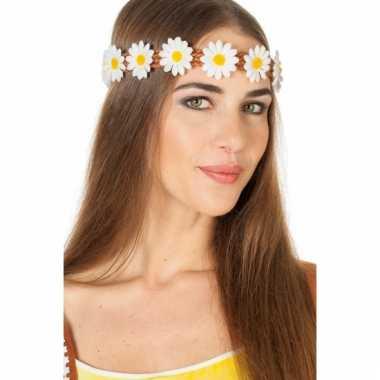 Gevlochten haarband met margrietjes