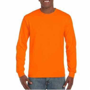 Gildan t-shirt lange mouwen fluor oranje