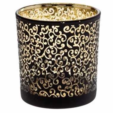 Glazen kaarsenhouder zwart/goud prague 8 cm