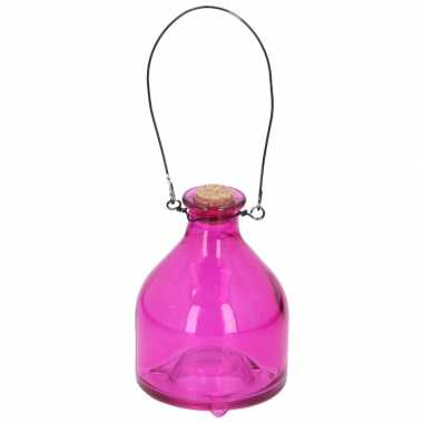 Glazen wespenvallen/wespenvangers 12 cm roze