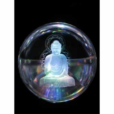 Glazenbol boeddha 10 cm decoratie
