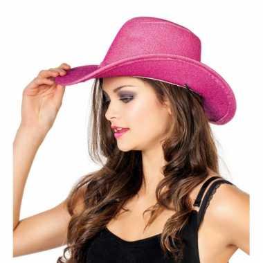 Glitter cowboyhoed roze