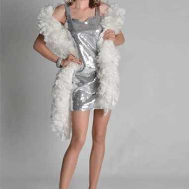 Glitter dames jurk zilver
