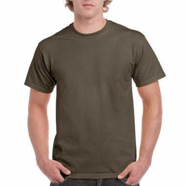 Goedkope gekleurde shirts olijfgroen voor volwassenen