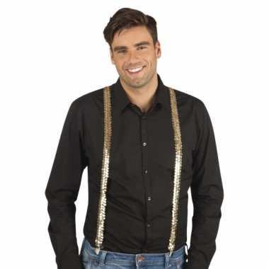 Gouden pailletten bretels voor volwassenen