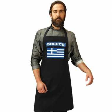 Griekenland vlag barbecueschort/ keukenschort zwart volwassenen