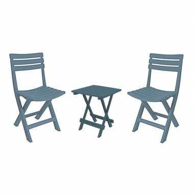 Grijsblauw vouwbaar camping tafeltje met stoeltjes