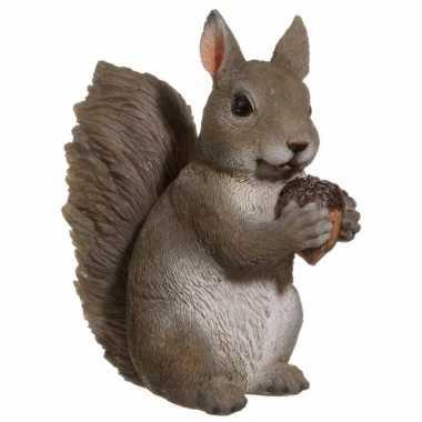 Grijze eekhoorn beeldje 15 cm huiskamer woondecoratie