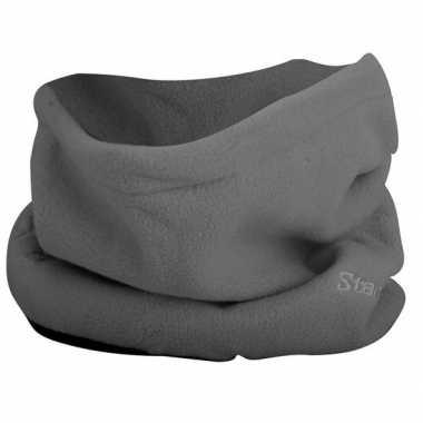 Grijze fleece col sjaal voor volwassenen