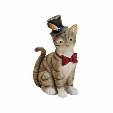 Grijze katten poezen spaarpot van keramiek 22 cm