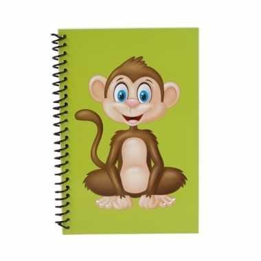Groen apen notitieboekje 18cm