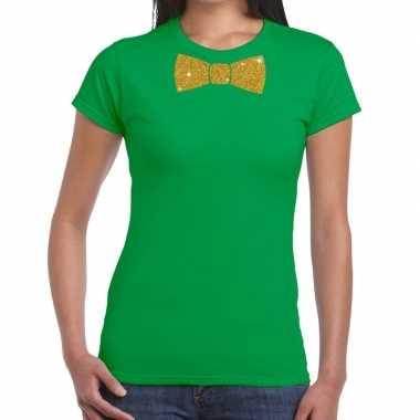 Groen fun t-shirt met vlinderdas in glitter goud dames