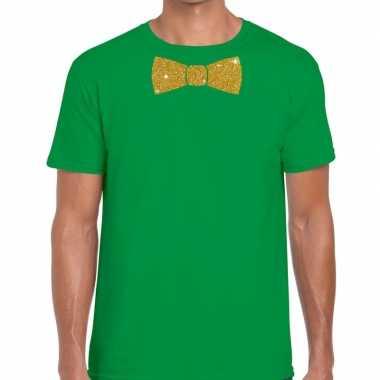 Groen fun t-shirt met vlinderdas in glitter goud heren