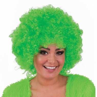 Groene hippie pruik met afro