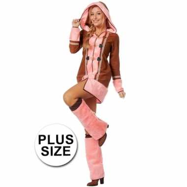 85324385a65b0e Grote maten dames eskimo kostuum bruin/roze   Pchoofdstraat.nl