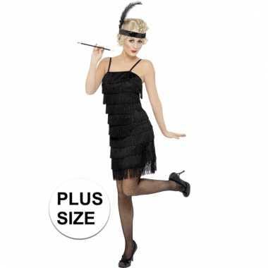 Grote maten feest roaring twenties verkleedkleding zwart voor dames