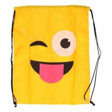 Gymtas geel smiley knipoog met tong
