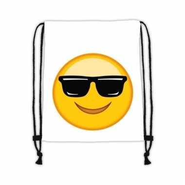 Gymtas wit smiley met zonnebril