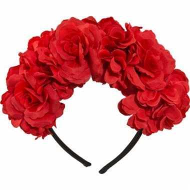Haarband met rode bloemen