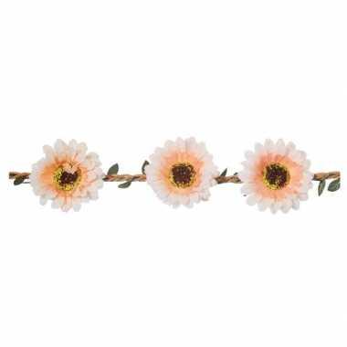 Haarband met wit/zalmroze bloemen voor dames
