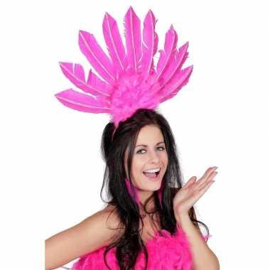 Haarband roze met veren voor dames