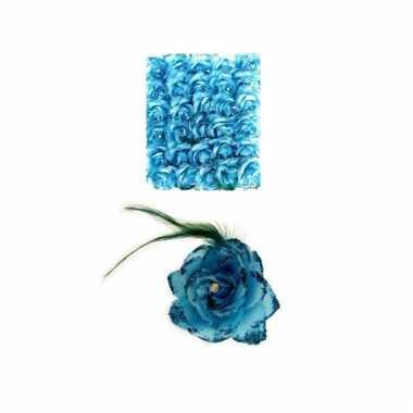 Haarbloem blauw met elastiek