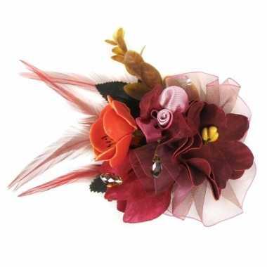 Haarbloemen met klem bordeaux rood