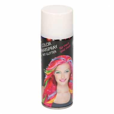 Haarverf spray wit metallic met glitters